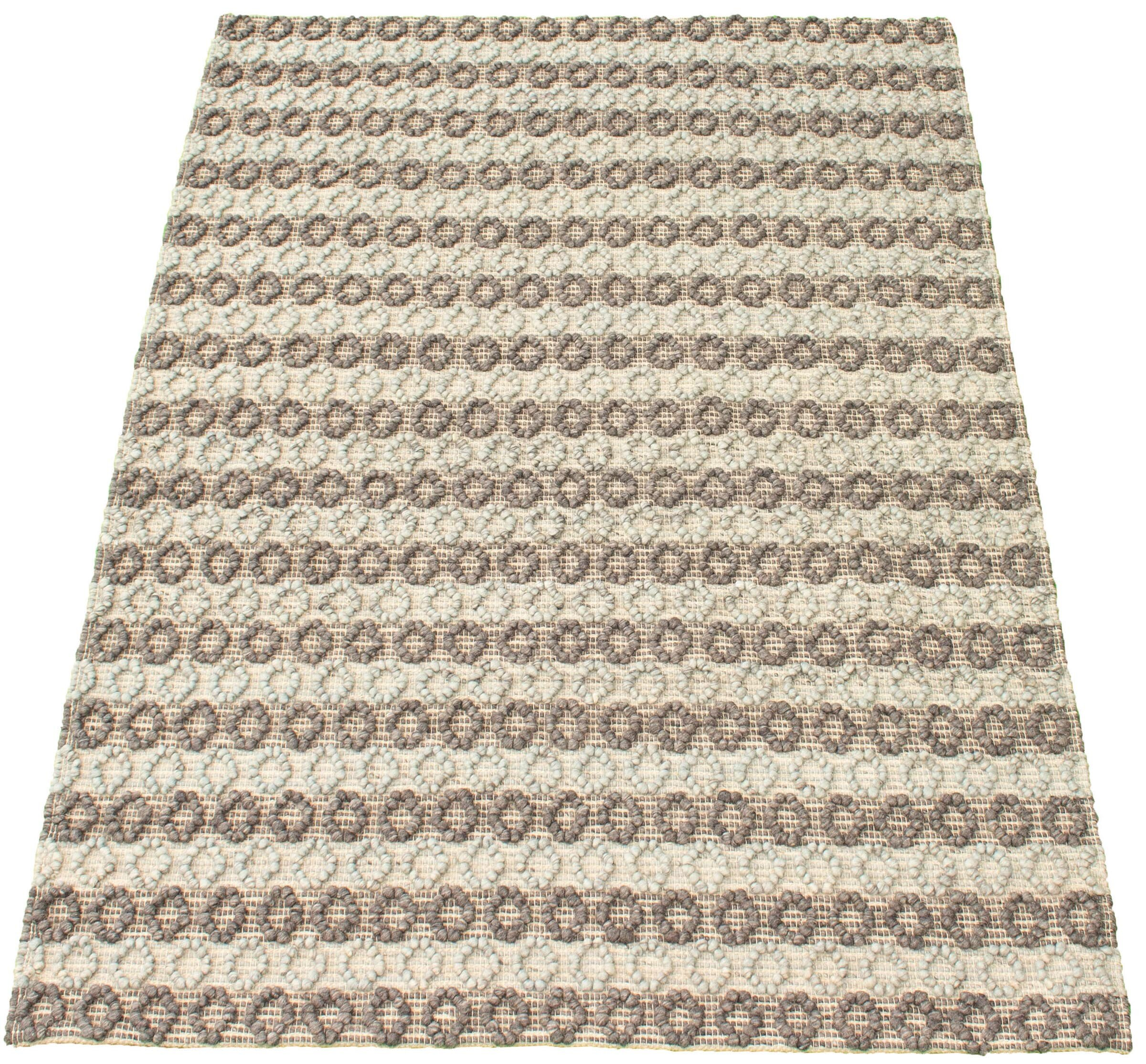 Dakota Fields Geometric Hand Braided Wool Dark Gray Area Rug Wayfair