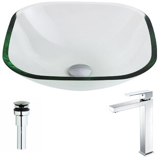 ANZZI Cadenza Glass Square Vessel Bathroom Sink with Faucet