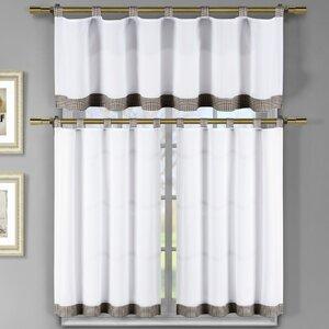 Prairie Rose 3 Piece Microfiber Tap Top Kitchen Curtain Set