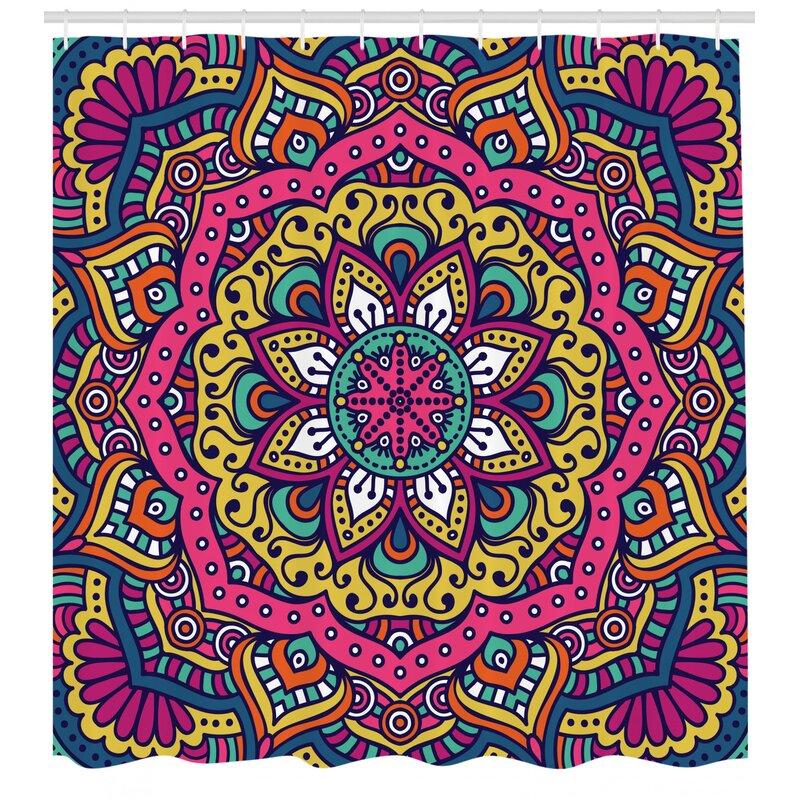 Mandala Love Pattern Shower Curtain Fabric Decor Set with Hooks 4 Sizes