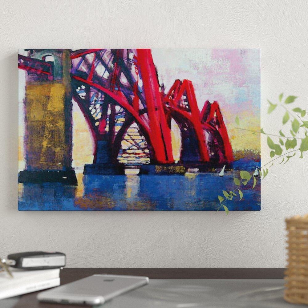 Edinburgh Forth Bridge Skyline At Night Canvas Print Framed Wall Art Picture