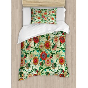 East Urban Home Vintage Colorful Ornamental Flowers and Leaves Fresh Spring Nature Art Illustration Duvet Set
