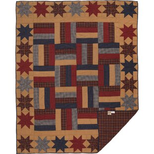 August Grove PeoPles Single Reversible Primitive Americana Star Quilt