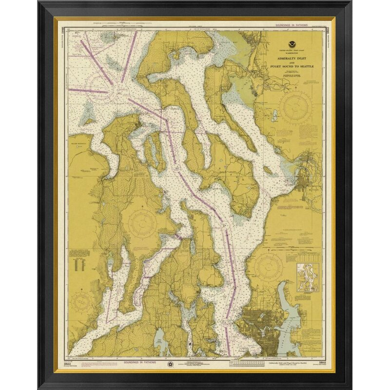Global Gallery Nautical Chart Admiralty Inlet And Puget Sound To Seattle Ca 1975 Sepia Tinted Framed Graphic Art On Canvas Wayfair