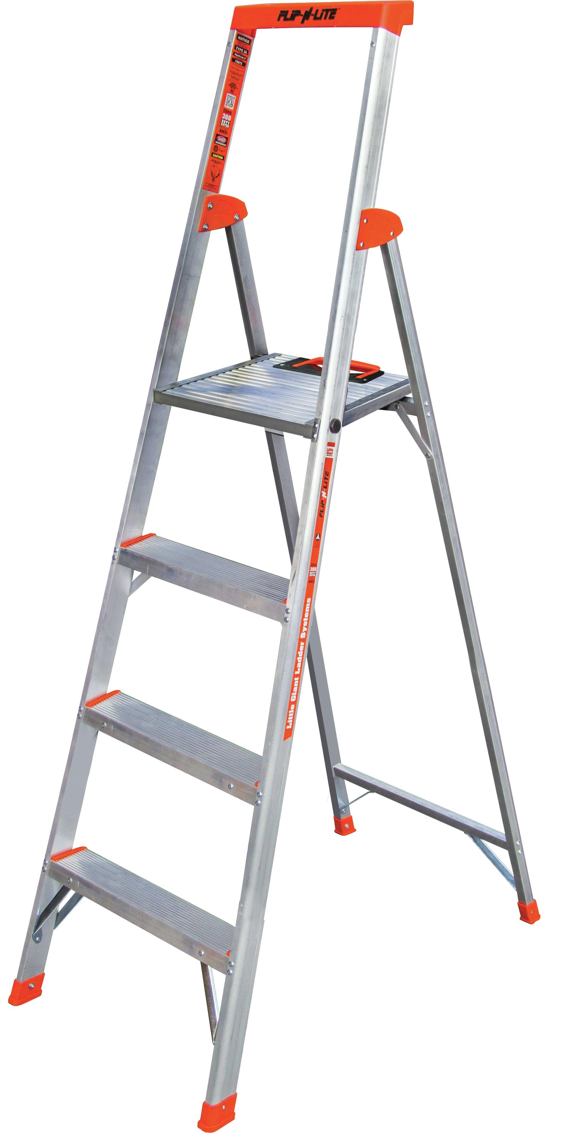 Little Giant Ladder 6 23 Ft Aluminum Flip N Lite Type 1a Step Ladder With 300 Lb Load Capacity Reviews Wayfair