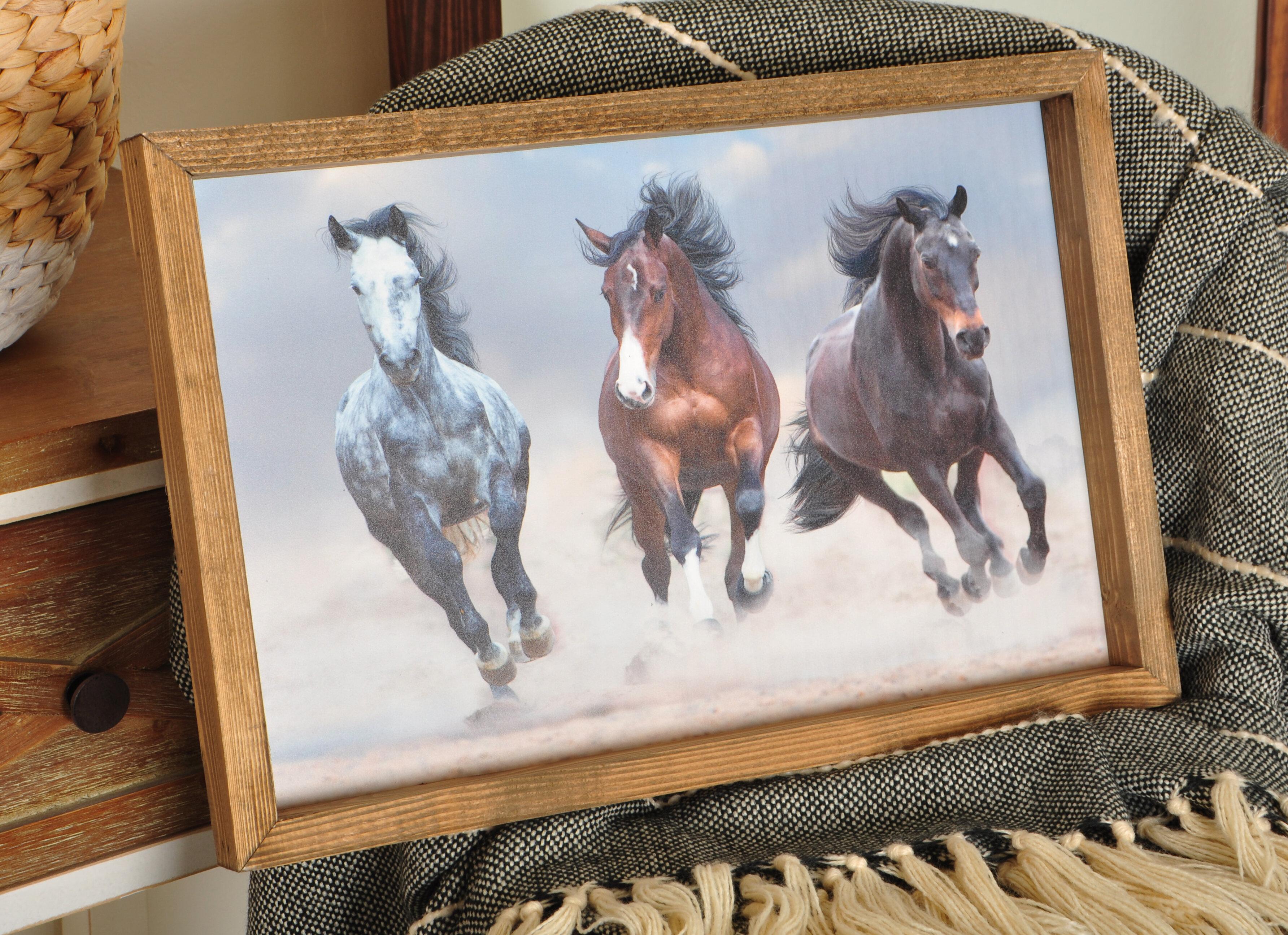 Gracie Oaks Wild Horses Running Wood Framed Art Print Picture Frame Print On Acrylic Wayfair