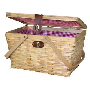 Lined Wood Picnic Basket