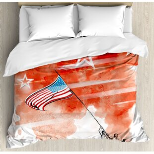 4th of July Vintage Digital Style Statue of Liberty Figure with USA Flag Art Graphic Print Duvet Set by East Urban Home