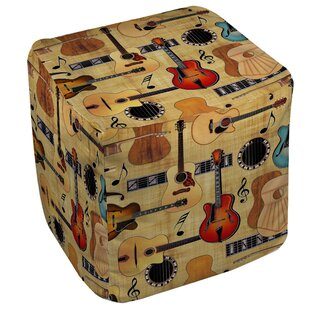 Guitar Collage Cream Pouf