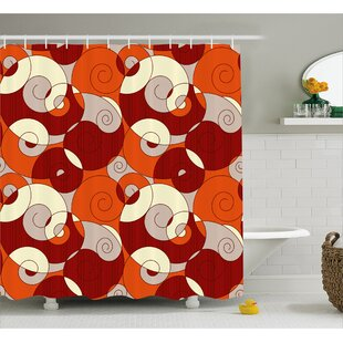 Roosevelt Spiral Abstract Stripes Shower Curtain + Hooks