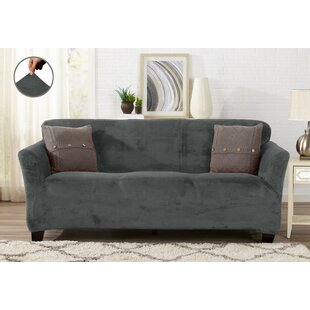 Enjoyable Velvet Plush Form Fit Stretch Box Cushion Sofa Slipcover Theyellowbook Wood Chair Design Ideas Theyellowbookinfo