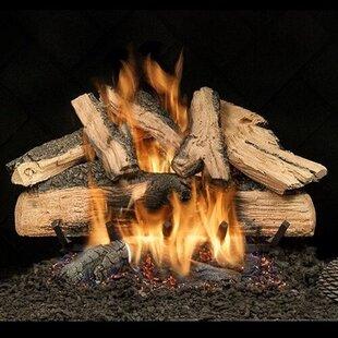 Elegant Charred Split Oak Vented Natural Gas/Propane Fireplace Log Set By HargroveGasLogs