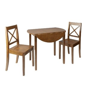 Wellinhall 3 Piece Drop Leaf Breakfast Nook Dining Set