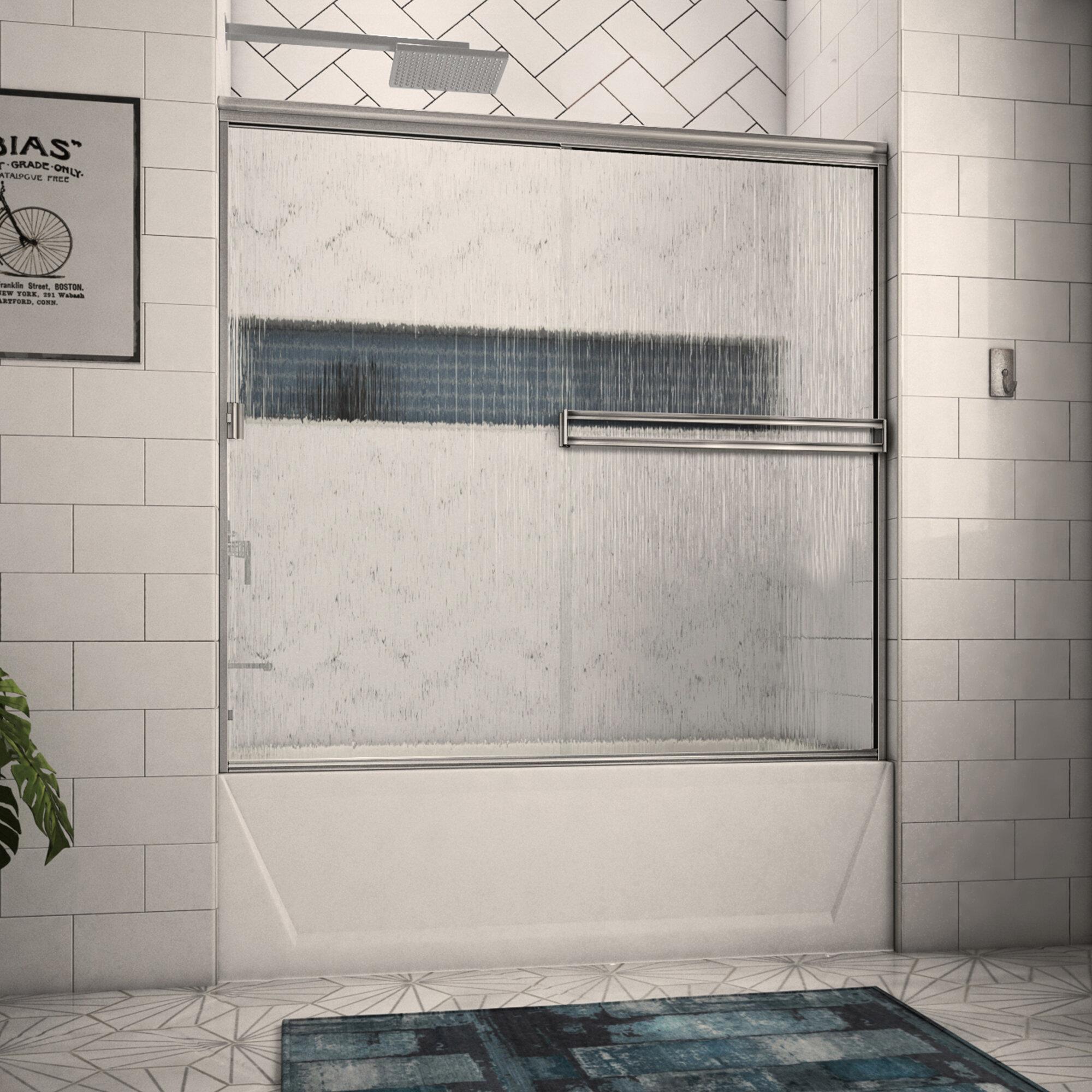Arizona Shower Door 56 X 55 Bypass Semi Frameless Tub Door Wayfair