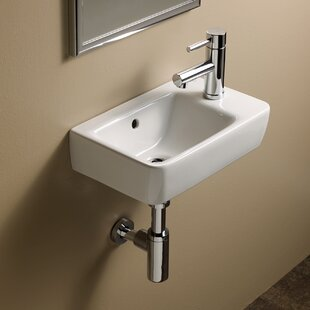 Top Reviews Comprimo Ceramic 16 Wall Mount Bathroom Sink with Overflow By Bissonnet