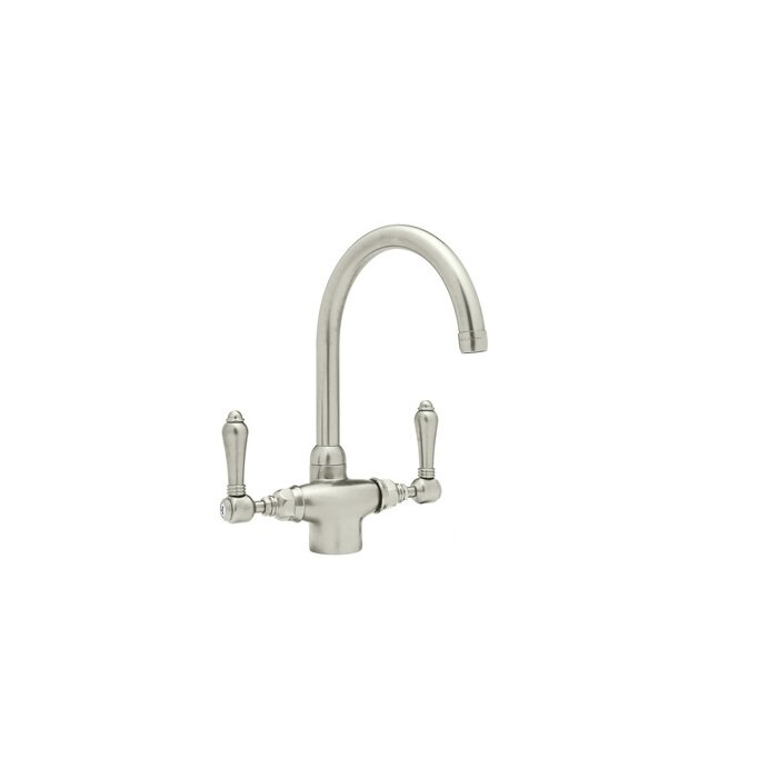 Country Kitchen Two Handle Single Hole Kitchen Faucet with Metal Levers  Side Spray