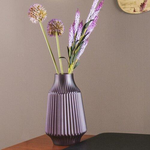 Tischvase Stripes Present Time Farbe: Violett| Größe: 26 cm H x 16 cm B x 16 cm T | Dekoration > Vasen > Tischvasen | Present Time