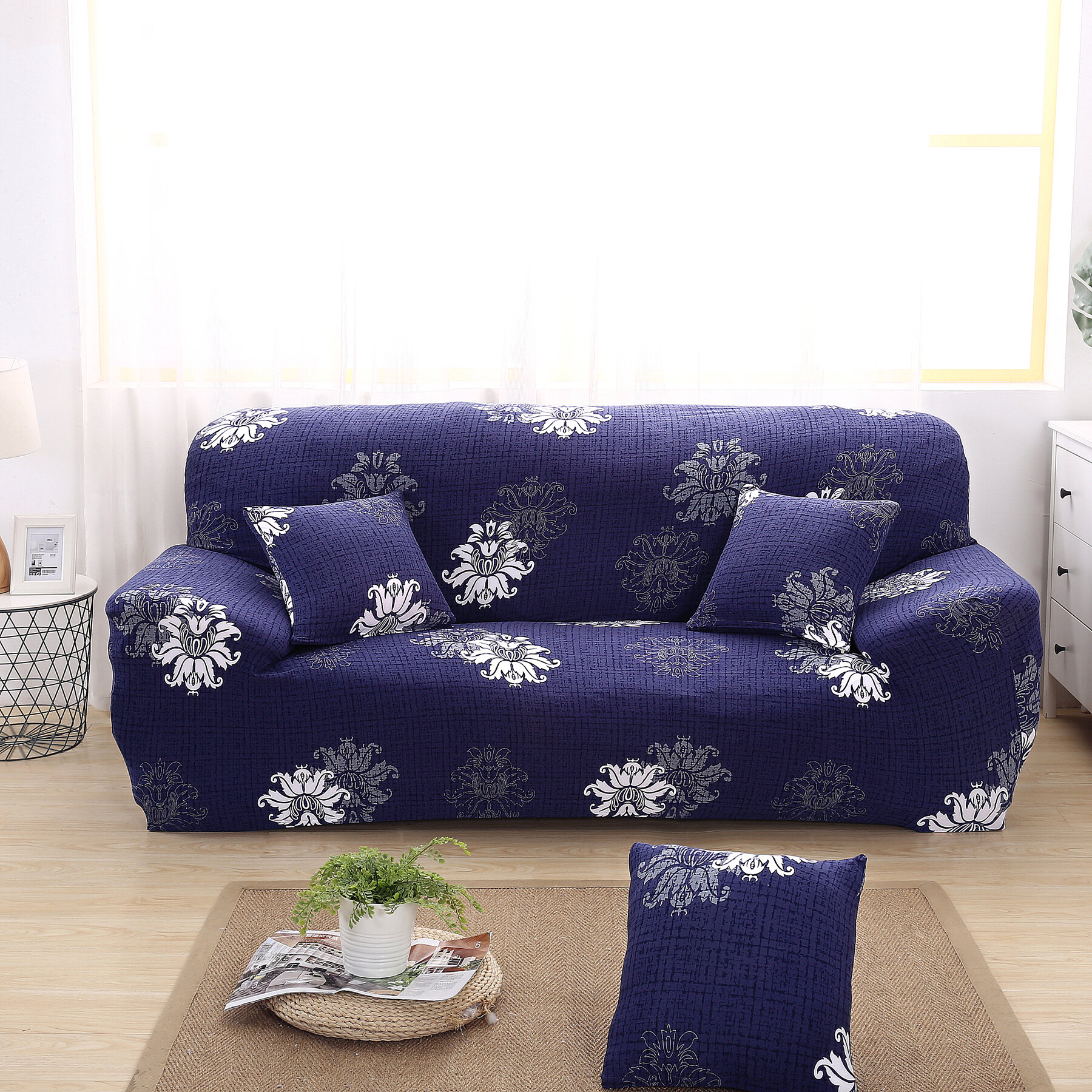 Elegant Polyester and Spandex Box Cushion Sofa Slipcover