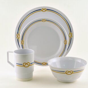 Decorated Rope Melamine 16 Piece Dinnerware Set, Service for 4