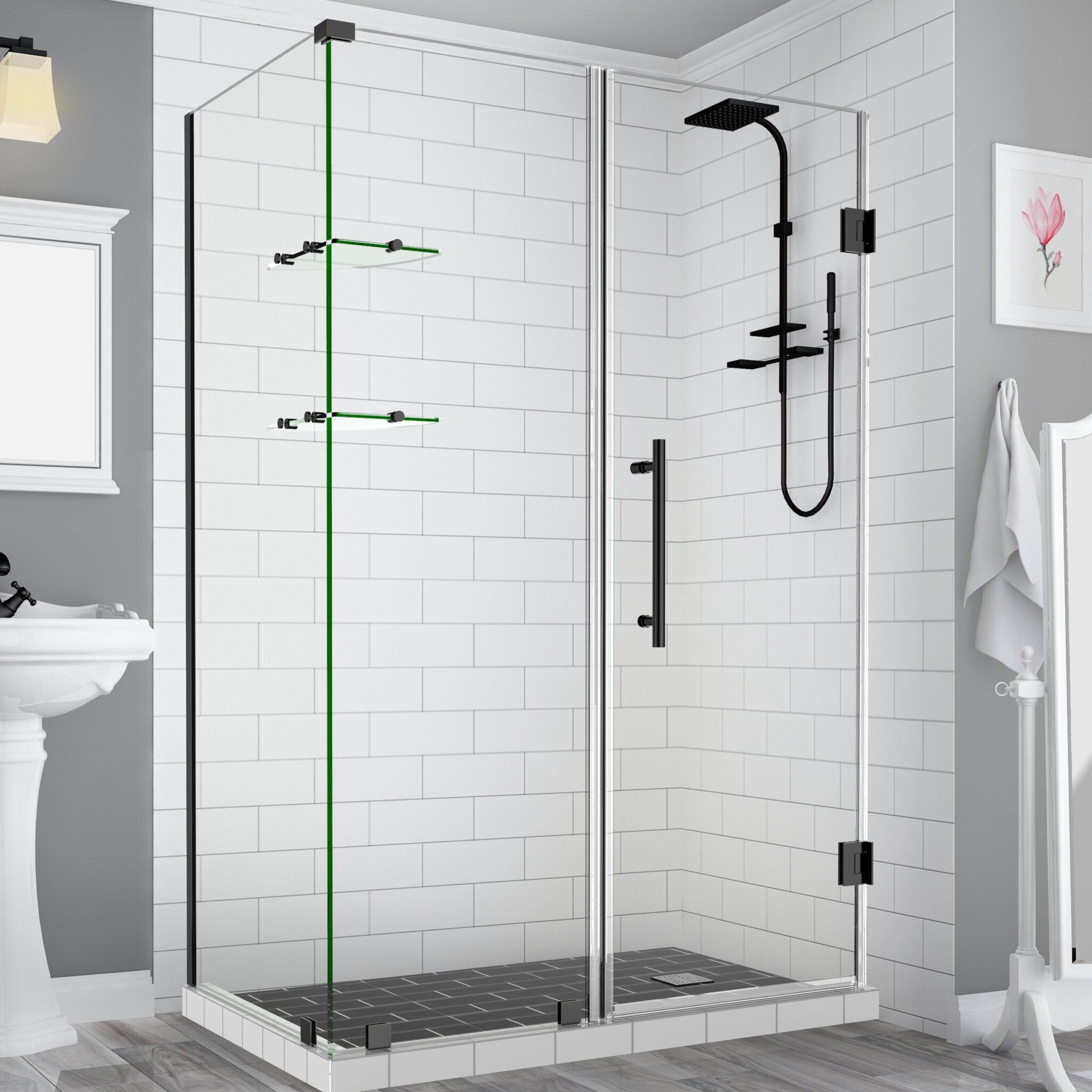 Aston Bromley Gs Frameless 68 X 72 Rectangle Hinged Shower Enclosure Wayfair