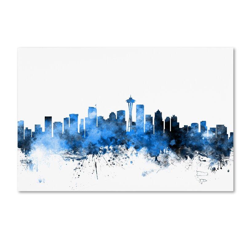 Trademark Art Seattle Washington Skyline Ii Graphic Art Print On Wrapped Canvas Wayfair