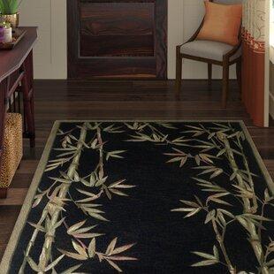 Affordable Chenai Black Bamboo Border Area Rug ByWorld Menagerie