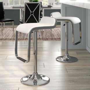 Emmett Adjustable Height Swivel Bar Stool (Set of 2) Wade Logan