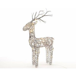 Christmas Wicker Standing Reindeer Lighted Display By The Seasonal Aisle