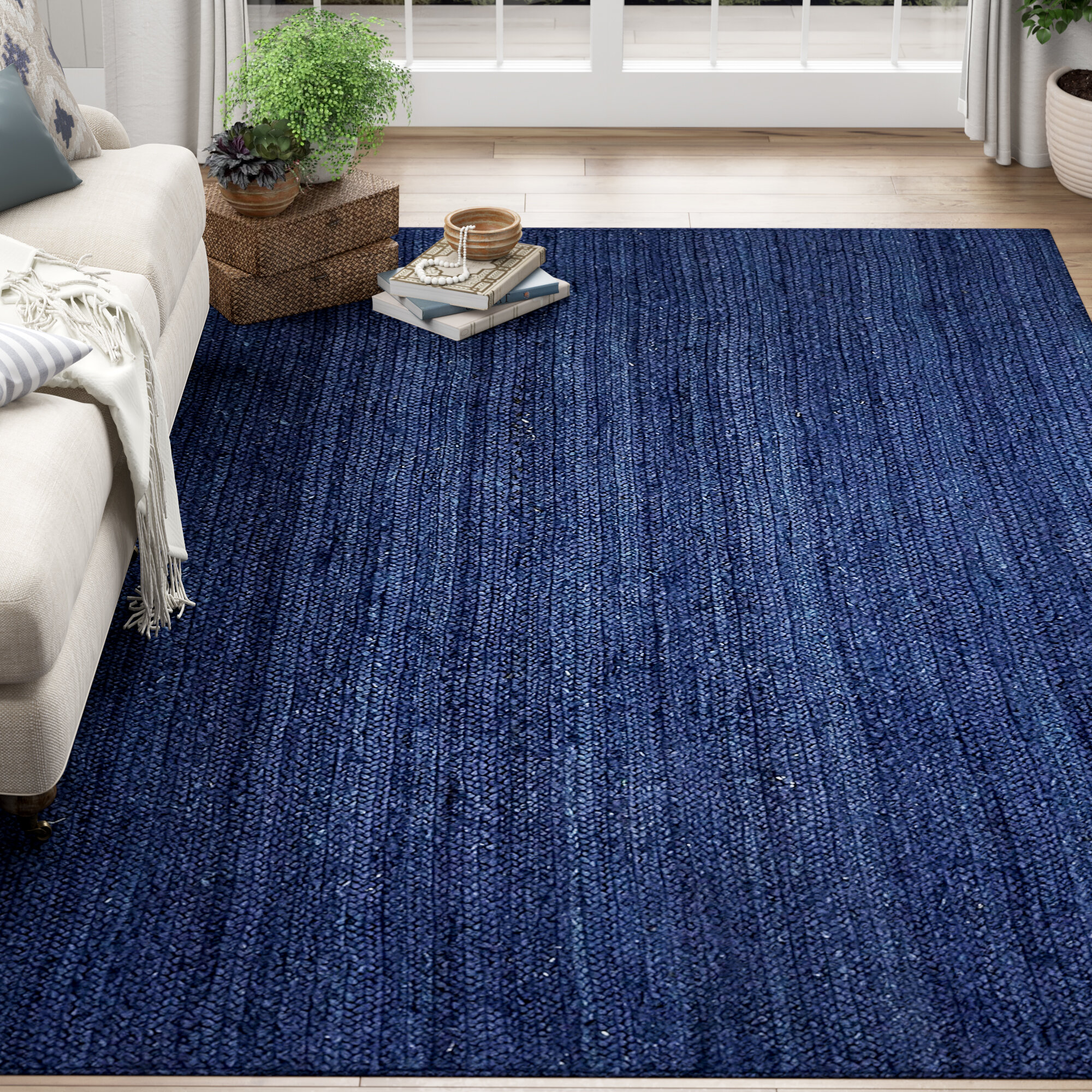 Odense Hand Braided Navy Blue Area Rug
