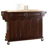 Hedon Kitchen Cart with Solid Rubberwood Top by Three Posts