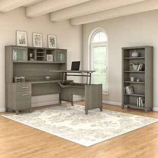 Stubblefield 3 Position Sit to Stand L-Shape Computer Desk with Hutch