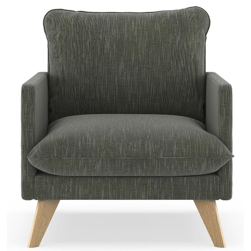 17 Stories  Dillingham Armchair Finish: Natural, Upholstery: Spruce Gray