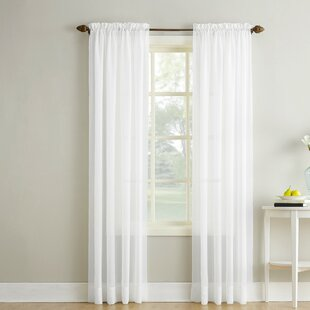 Crushed Sheer Voile Solid Rod Pocket Single Curtain Panel