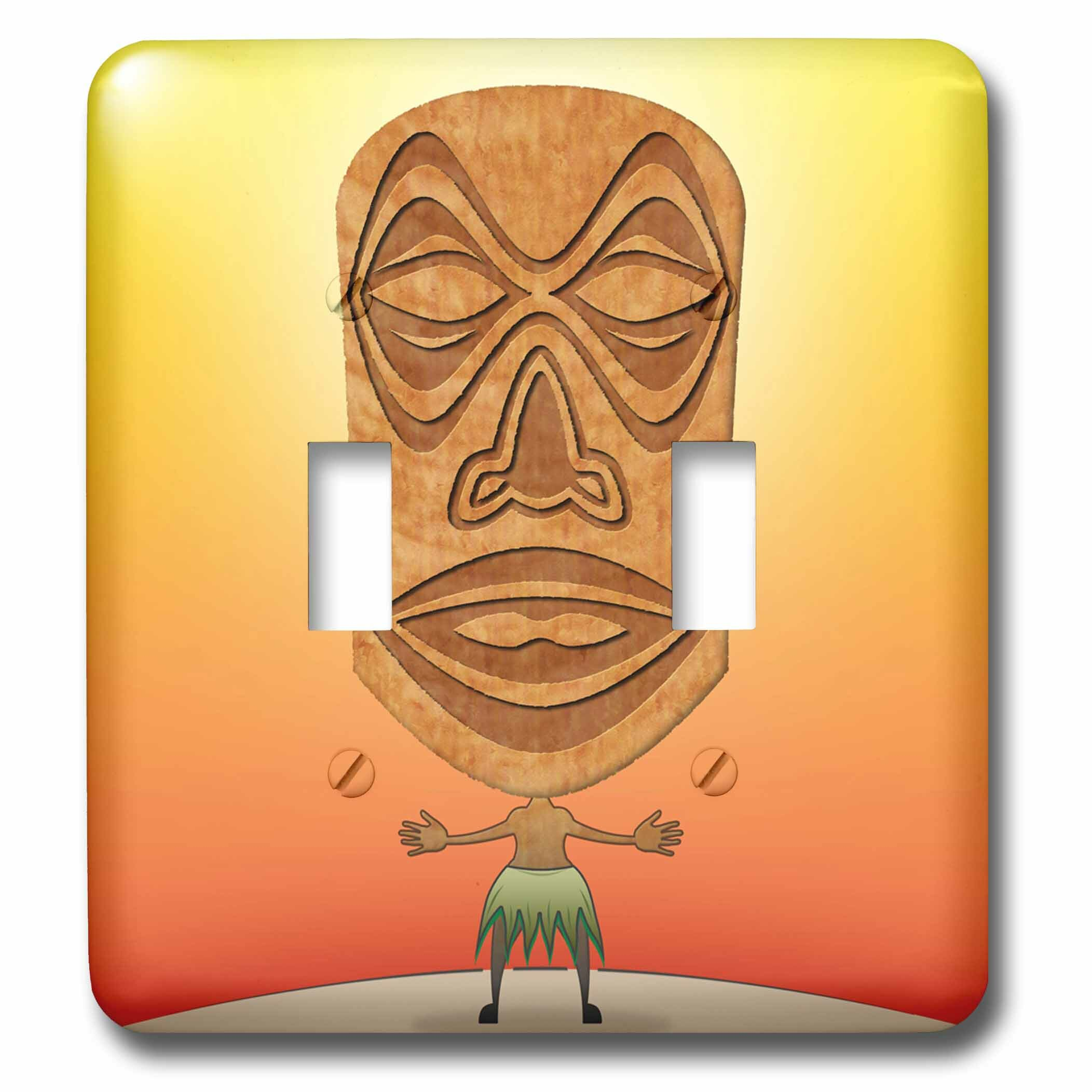 3drose Voodoo Tiki Head Voodoo Villager With Tribal Mask Standing In Tropical Environment 2 Gang Toggle Light Switch Wall Plate Wayfair