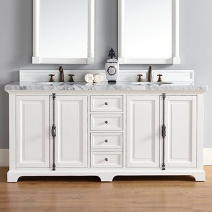 Ogallala 72 Double Cottage White Marble Top Bathroom Vanity Set by Greyleigh