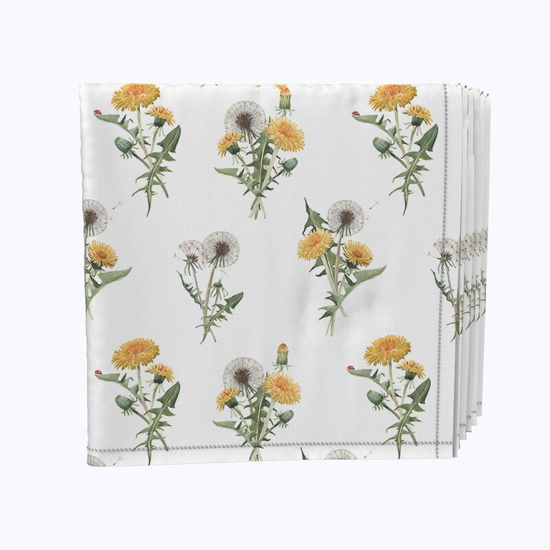 Fabric Textile Products Inc Napkin Set 100 Milliken Polyester Machine Washable Set Of 12 18x18 Dandelions Wayfair
