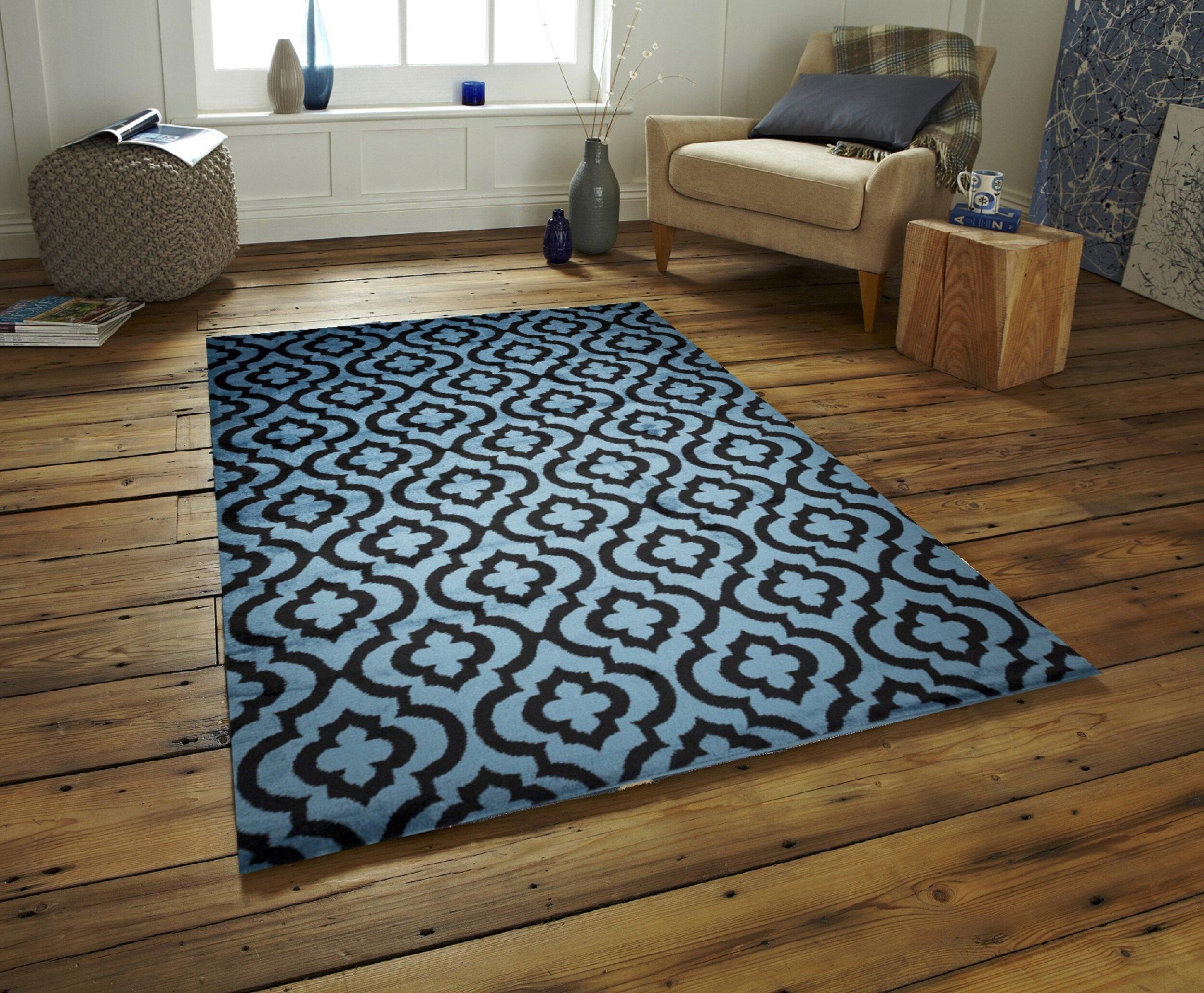 Charlton Home Selway Mirror Rehash Black Blue Area Rug Reviews Wayfair