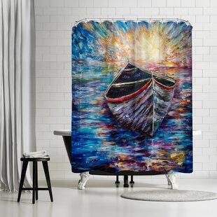 OLena Art Wooden Boat At Sunrise Single Shower Curtain