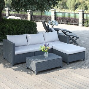 Lachesis 5 Piece Rattan Seating Group with Cushions