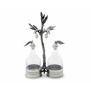 Olive Grove Pewter Olive Oil and Vinegar Condiment Set