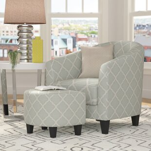 Three Posts Allegra 2 Piece Upholstered Barrel Chair and Ottoman Set
