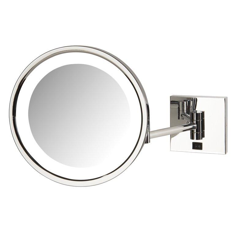 Orren Ellis Odis LED Lighted Base Direct Wire Makeup/Shaving Mirror