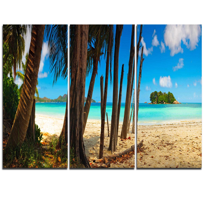 Designart Praslin Island Tropical Beach Panorama 3 Piece Photographic Print On Wrapped Canvas Set Wayfair