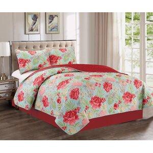 Hailey Floral 3 Piece  Quilt Set
