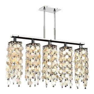 Oyster shell pendant light wayfair charland oyster shell 5 light kitchen island pendant mozeypictures Images