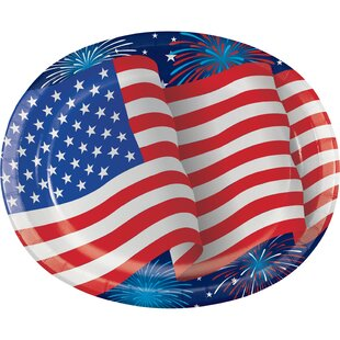 Patriotic Party Oval Paper Disposable Dinner Plate (Set of 24)