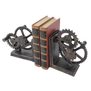 Industrial Gear Sculptural Iron Book End (Set of 2)
