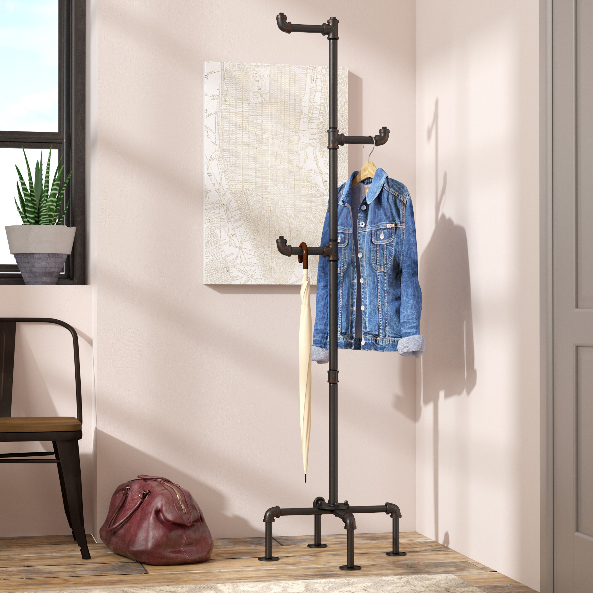 d9979f6fe1ff0 Williston Forge Maegan Industrial Coat Rack   Reviews