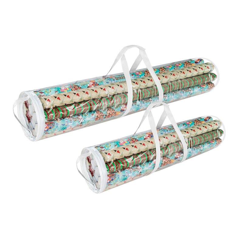 Charming 2 Piece Christmas Paper Gift Wrap Storage Set