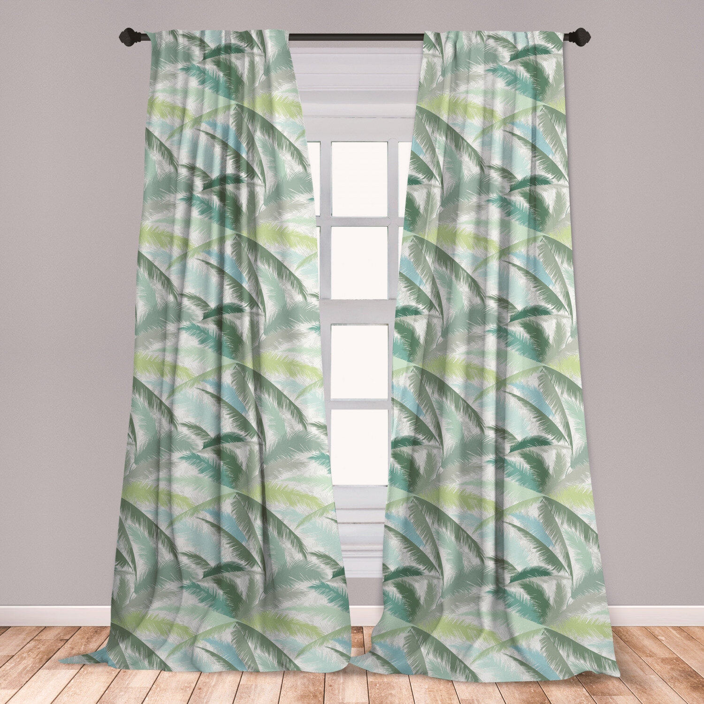 East Urban Home Palm Tree Floral Room Darkening Rod Pocket Curtain Panels Wayfair